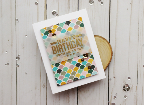 Stamped vellum card using Jillibean Soup's Spoonful of Soul patterned paper, shaker fillers, and birthday clear stamps.  Stamping on Vellum on Cards.  Jillibean Soup cardmaking.  #jillibeansoup #cards #cardmaking #stamp #vellum #spoonfulofsoul #birthday