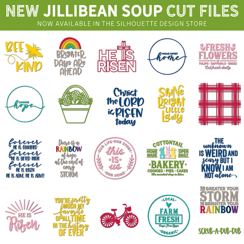 Jillibean Soup Silhouette Die Cut shapes for spring and Easter. #svg #silhouette #diecutting #studiofile #jillibeansoup