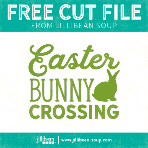 Free Bunny Crossing Easter die cut shape with studio and svg files available. #jillibeansoup #easter #silhouette #cricut