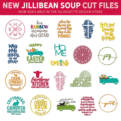 Jillibean Soup Easter, Home, and Spring cut files for the Silhouette and Cricut die cutting machines. #cricut #silhouette #jillibeansoup #svg #studiofile