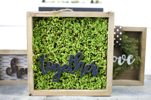 """Together"" Moss Covered Frame from Jillibean Soup. #mixthemedia #jillibeansoup #moss #planksign #togethersign"