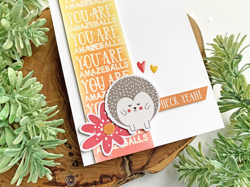 Stamped card using Jillibean Soup's Rainbow Roux collection including clear stamps, pea pod parts, and epoxy stickers.  Using Phrase Stamps to Create Card Backgrounds.  Jillibean Soup cardmaking.  #jillibeansoup #cards #cardmaking #stamp #rainbowroux