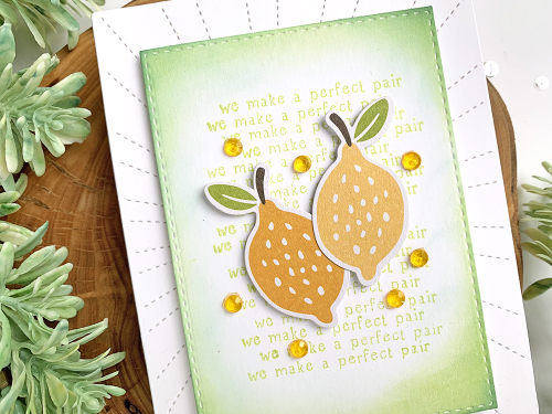 Stamped card using Jillibean Soup's Spoonful of Soul clear stamp and pea pod parts and shaker fillers.  Using Phrase Stamps to Create Card Backgrounds.  Jillibean Soup cardmaking.  #jillibeansoup #cards #cardmaking #stamp #spoonfulofsoul