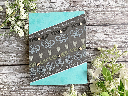 Stamped card using Jillibean Soup's You Make Miso Happy stamps, wood veneer shaker fillers, All My Happy stamp and die, and Thankful Butterfly stamp and die.  Dark Background Cards.  Jillibean Soup cardmaking.  #jillibeansoup #cards #cardmaking #darkbackground #stamped