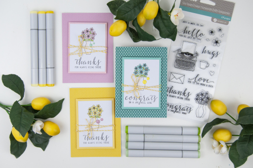 Stamped card set using Jillibean Soup's All About Dots paper pad and Just My Type stamp set.  Spring Card Set.  Jillibean Soup cardmaking.  #jillibeansoup, #cards, #cardmaking, #stamped, #allaboutdotspaperpad, #justmytype