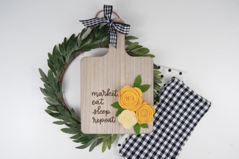 Cheese Board with Felt Flowers by Jen Gallacher